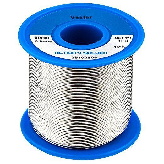 Vastar 454g Activity Wire Solder 60 40 60 Tin 40 Lead 0 8mm Diameter 0 031 Quot 1lb Home Improvement Tin Soldering