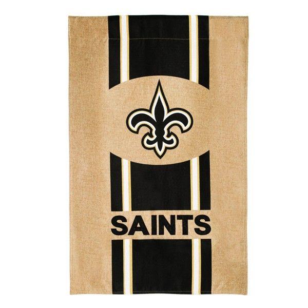 """28"""" x 44"""" New Orleans Saints Logo Stripes Burlap Vertical House Flag"""