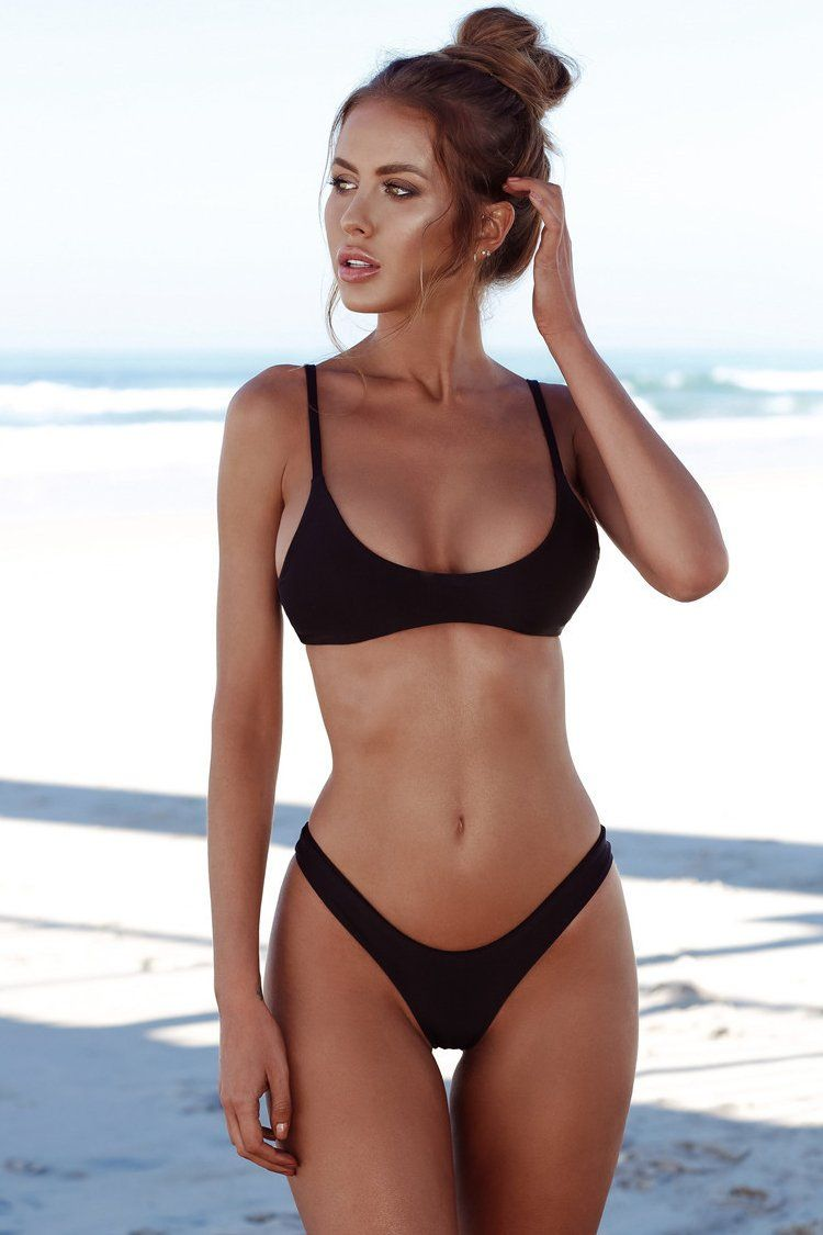 f6434c003cc73 Sexy High Cut Cheeky Bralette Bikini Swimsuit in Black | Outfits ...