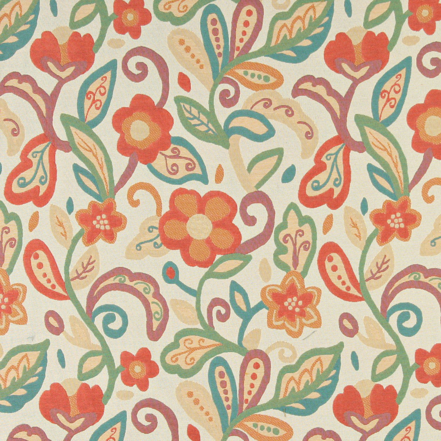Ordinaire Aqua Red On Beige Contemporary Artistic Flower With Leaf Pattern Brocade  Upholstery Fabric By The Yard