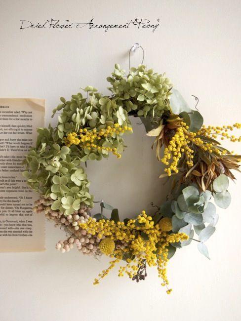 アナベルとミモザのリース Dried Flower Arrangement Peony ドライフラワーアレンジメント ドライフラワー フラワーリース