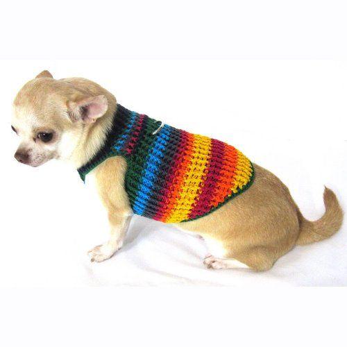 Myknitt Handmade Crochet Dog Harness Rainbow Colorful Chihuahua ...