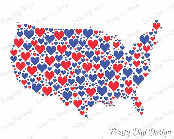 United States Digital Red And Blue Heart Jpg Png Pdf Eps - Pretty us map