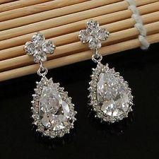 18K White GP Cubic Zirconia Dangling Long Earring/Wedding Bridal Earrings 13239