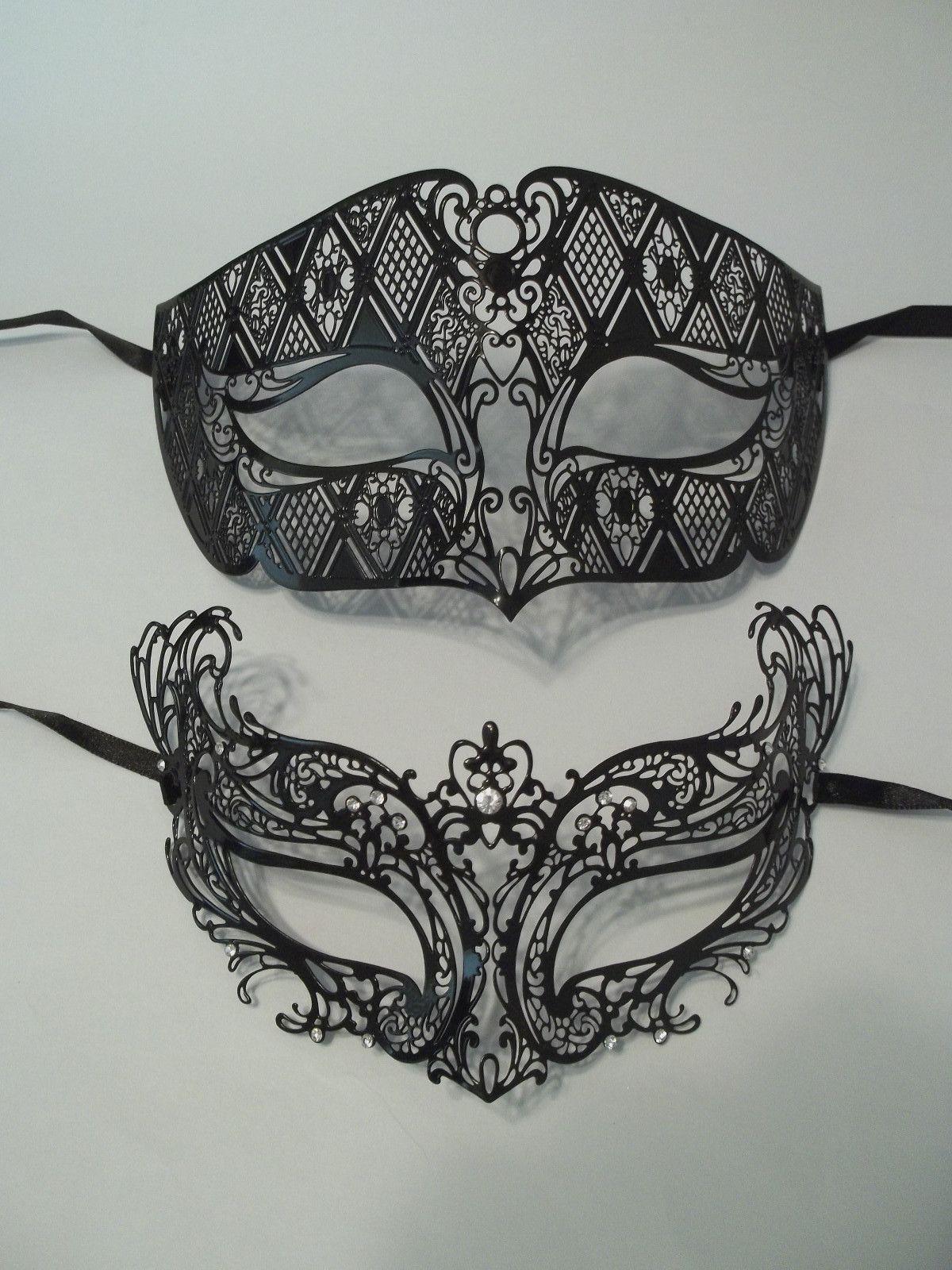 Black Laser Cut Venetian Masquerade Metal Filigree Mask Men Woman Combo Set