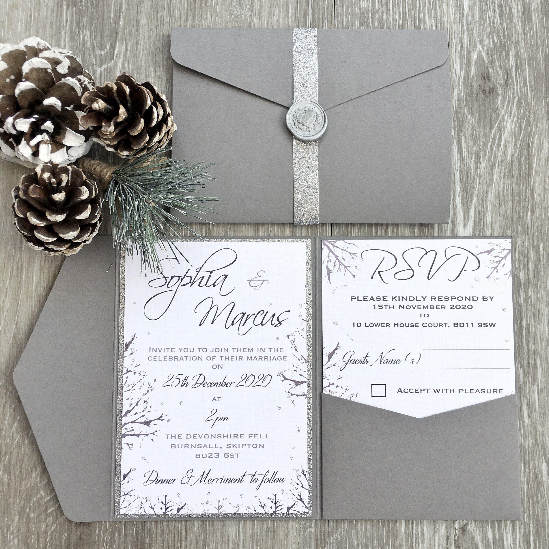 SAMPLE - Rustic Winter Wedding Invitation Grey Pocket Fold, Rustic Wedding, Winter Wedding, Christmas Wedding Invitation,