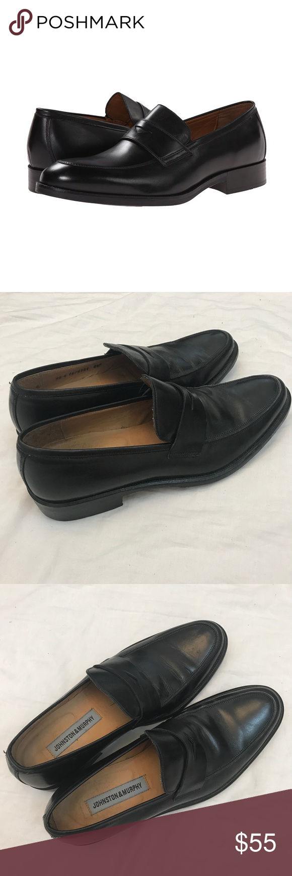74e497a4cd0 Johnston   Murphy Beckwith Penny Loafers Johnston and Murphy men s black beckwith  penny loafers dress shoes