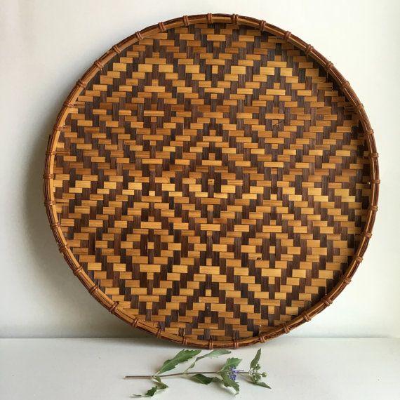 "Large Vintage Woven Tribal Round Basket Tray Wall Hanging Boho Decor 16"""