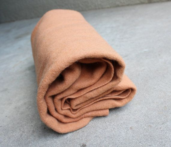 Vintage Blanket Wool Felted Salmon Bedding by QUIVERreclaimed