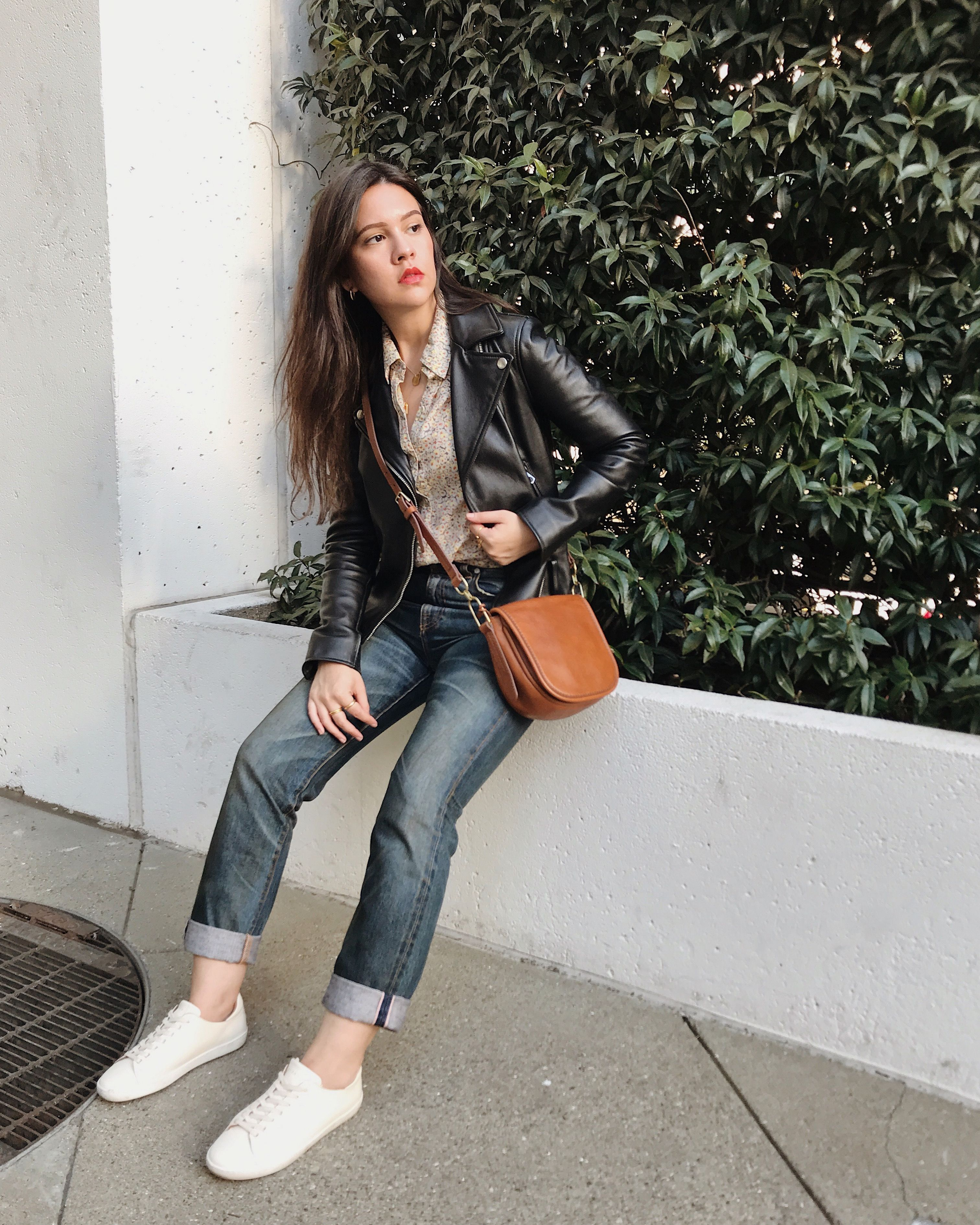 Madewell Leather Jacket And Jewelry Sezane Sneakers Fossil Purse Cqy Denim Jeans Hinge Blouse [ 3780 x 3024 Pixel ]