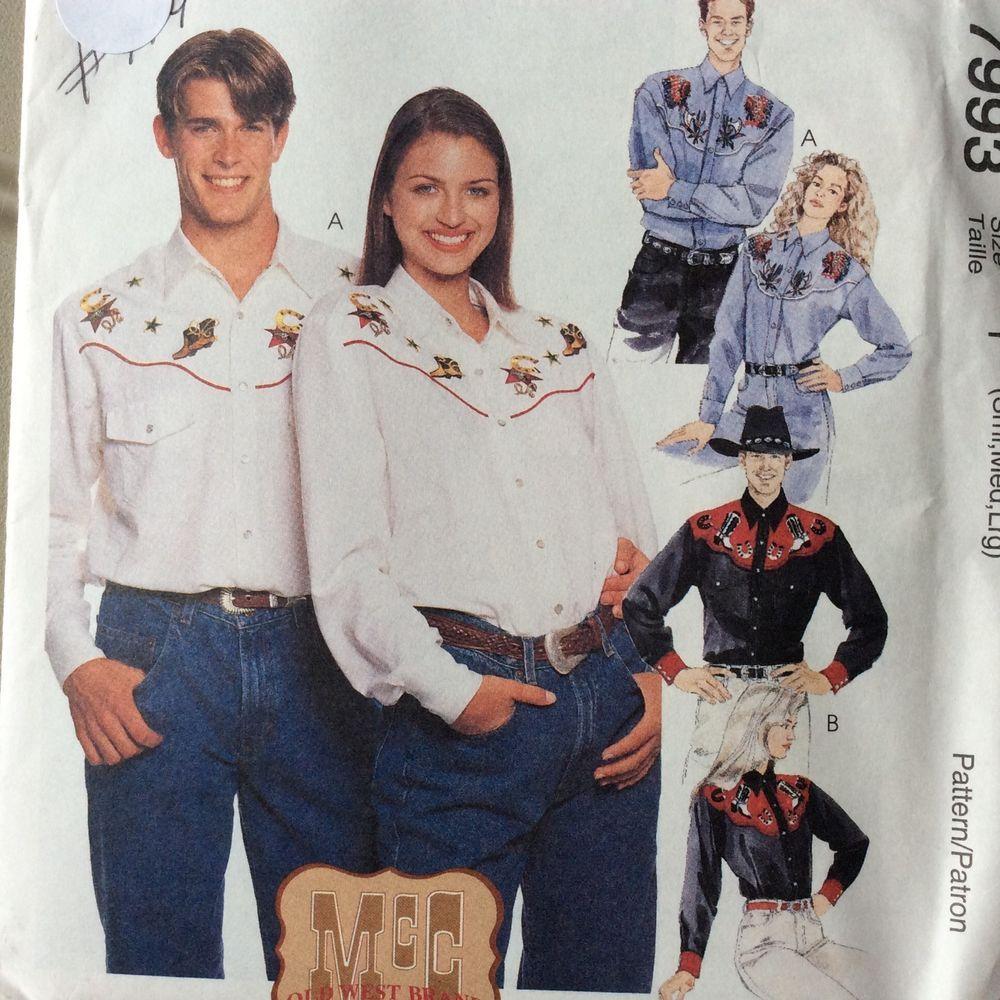 Cowboy western shirt with yoke sewing pattern men womens cowboy western shirt with yoke sewing pattern men womens rockabilly s m l west mccall jeuxipadfo Images