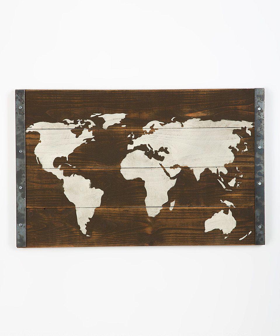 Look what I found on #zulily! Dark Walnut Bordered World Map Wall Art by DelHutson Designs #zulilyfinds