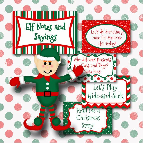 Christmas Elf Notes And Sayings Printable On The Shelf Ideas