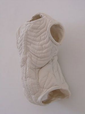 Textile artist Karine Jollet made these  sculptures of human body parts from fabric.