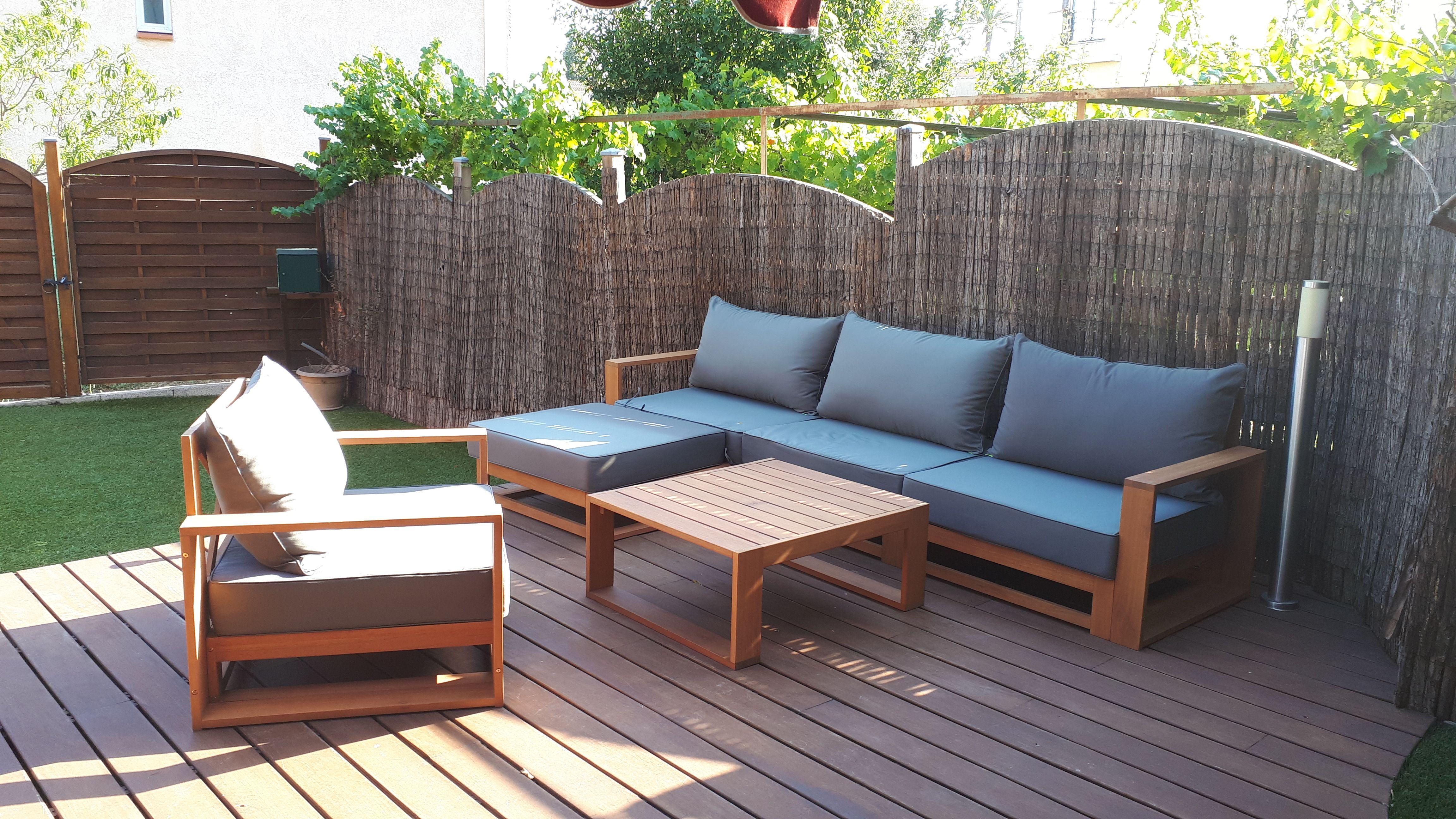 Selva : Salon de jardin, coussin gris anthracite, 5 places assises ...
