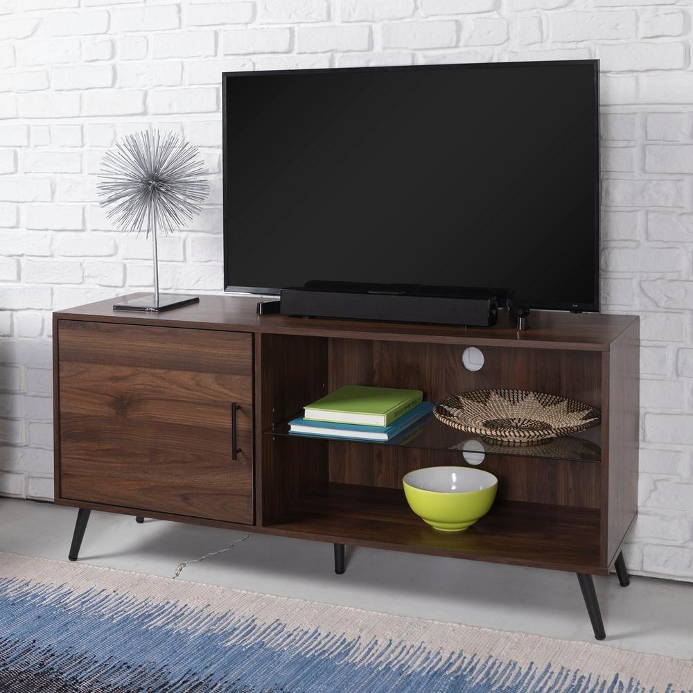 b766695beac25 Walker Edison Furniture 52 in. Dark Walnut TV Stand with Black Legs ...