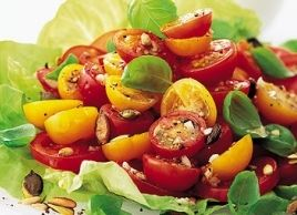 When tomatoes are at their peak of sweetness, this Garlicky Tomato Salad is particularly delicious. It's eye-catching, too, if you make it with a mixture of different-coloured tomatoes—new varieties are coming on the market all the time.