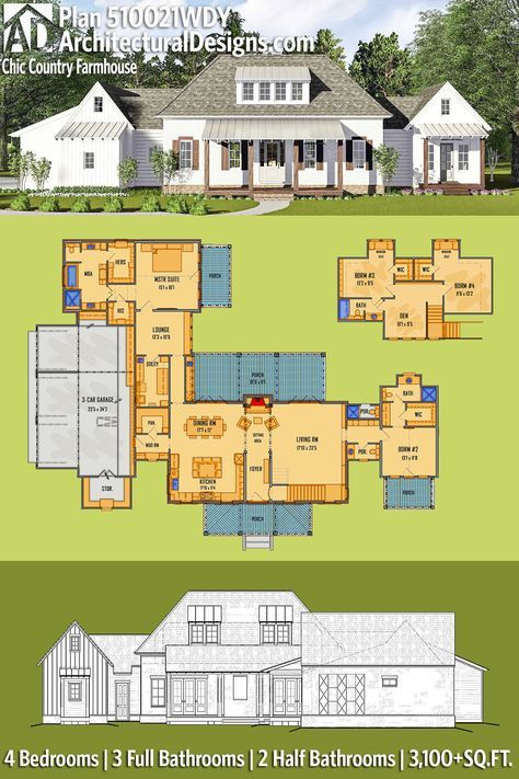 Plan 510021WDY: Chic Country Farmhouse | Architectural Design House Plans, Farmhouse  Design And Living Spaces