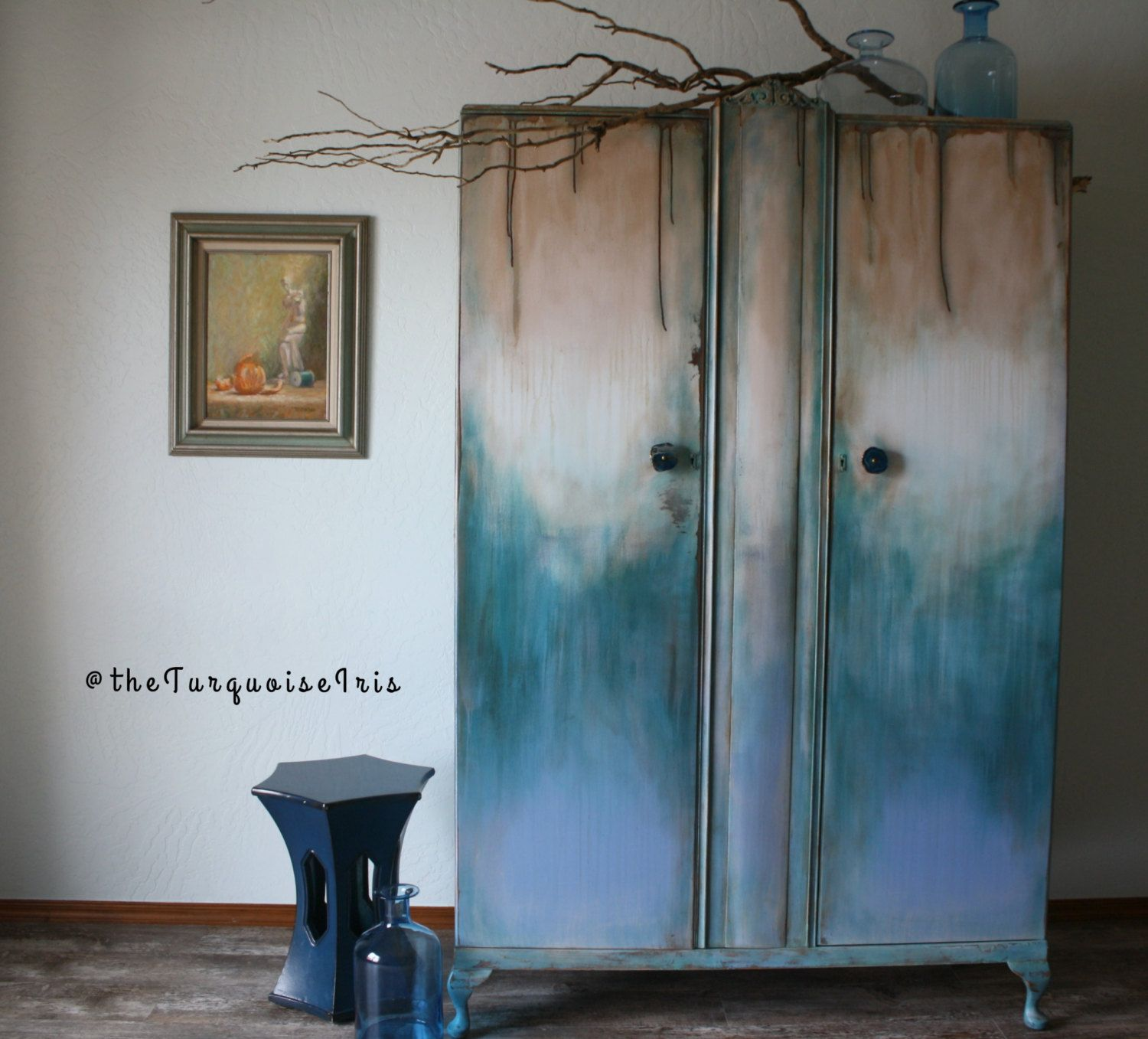 Bohemian Multi Color Large Handpainted Armoire / One Of A Kind Wardrobe /  Antique Furniture /