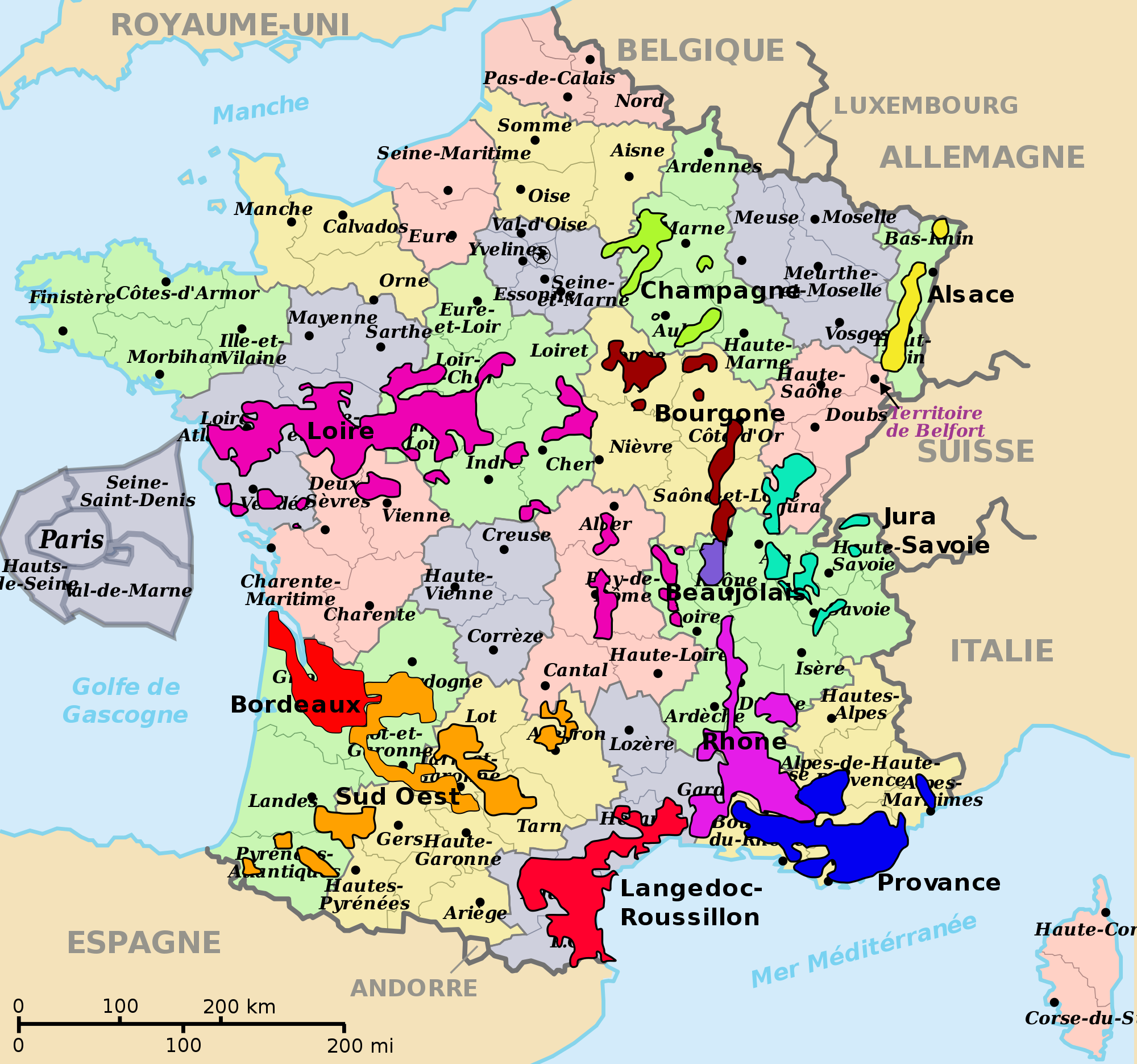 Map Of South Of France Regions.Viticulture Of France