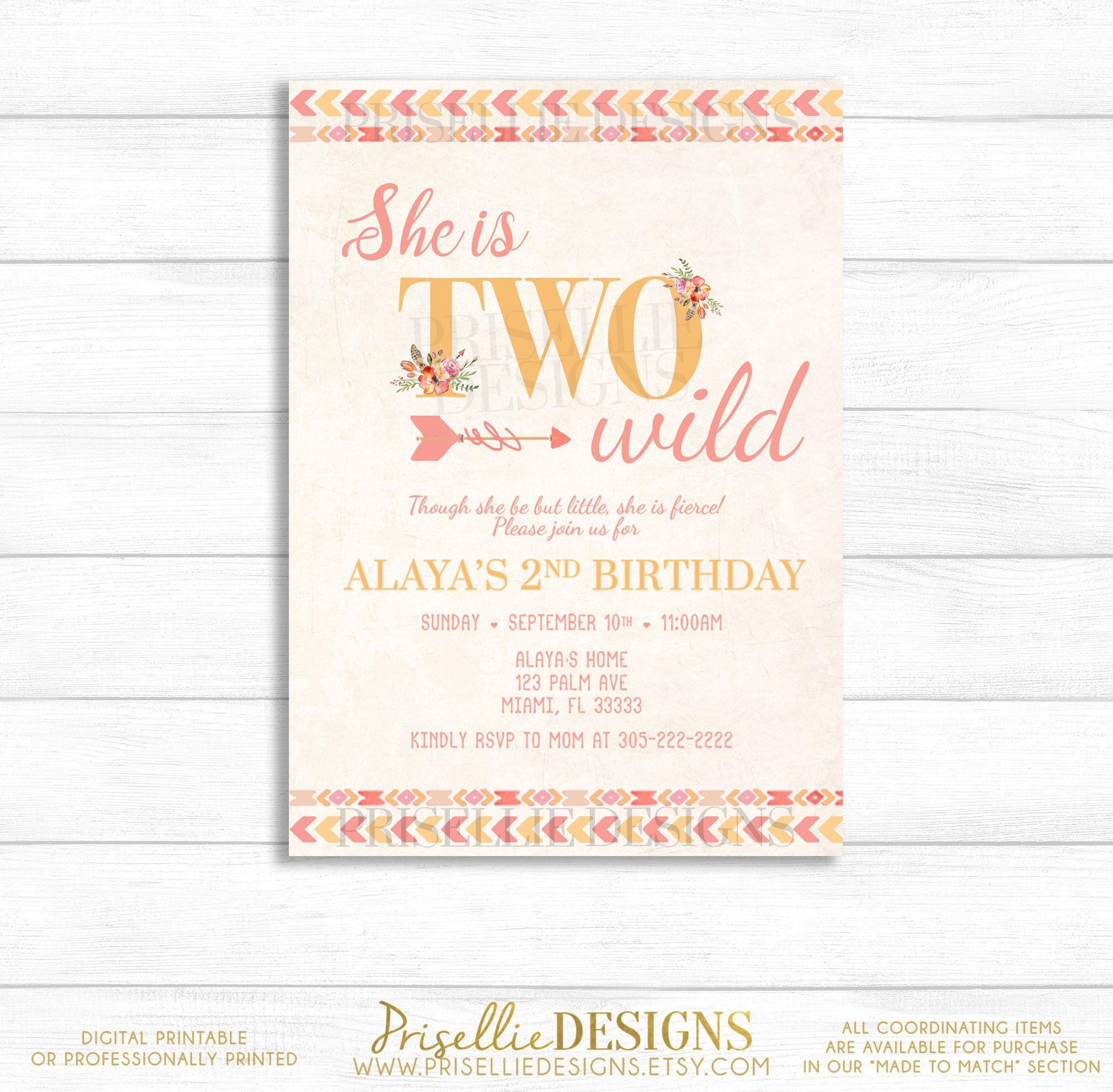 Two Wild Birthday Invitation, 2nd Birthday Invitation Girl, Boho ...
