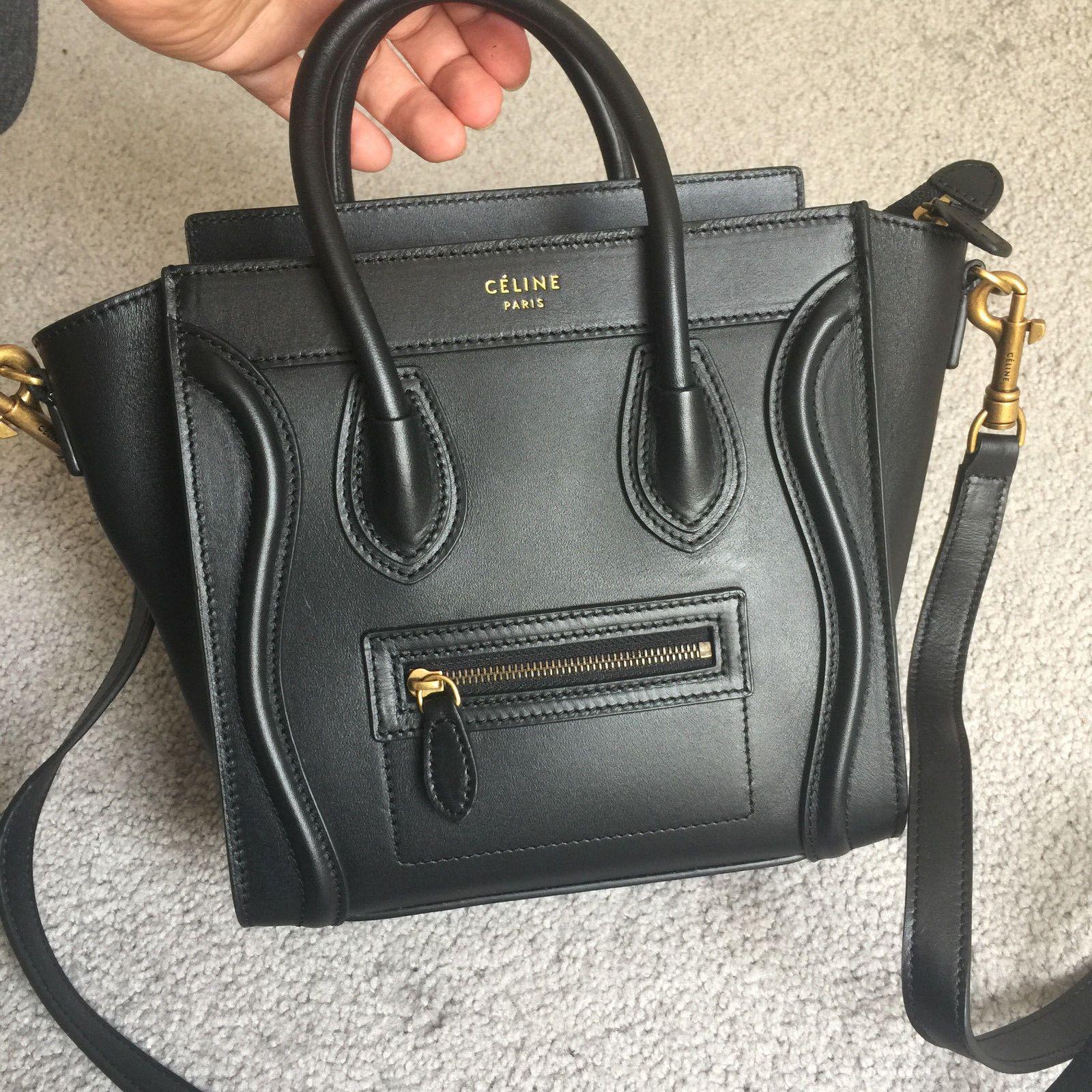 b0a91d09e7338 AUTH CELINE Calfskin Nano Luggage black mini bag | Celine in 2019 ...