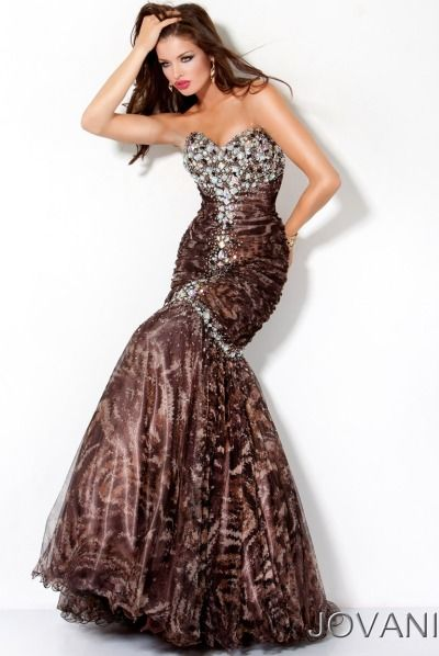 Jovani Brown Jeweled Drop Waist Long Prom Dress 172203 at ...