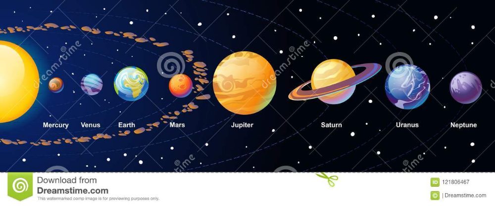 Solar System Cartoon Illustration With Colorful Planets And Asteroid Belt On Navy Blue Gradient Ba Cartoon Illustration Gradient Background Vector Illustration