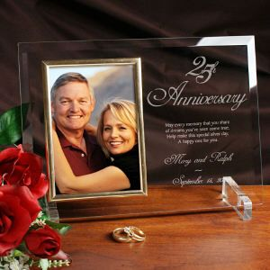 25th Anniversary Personalized Beveled Gl Picture Frame