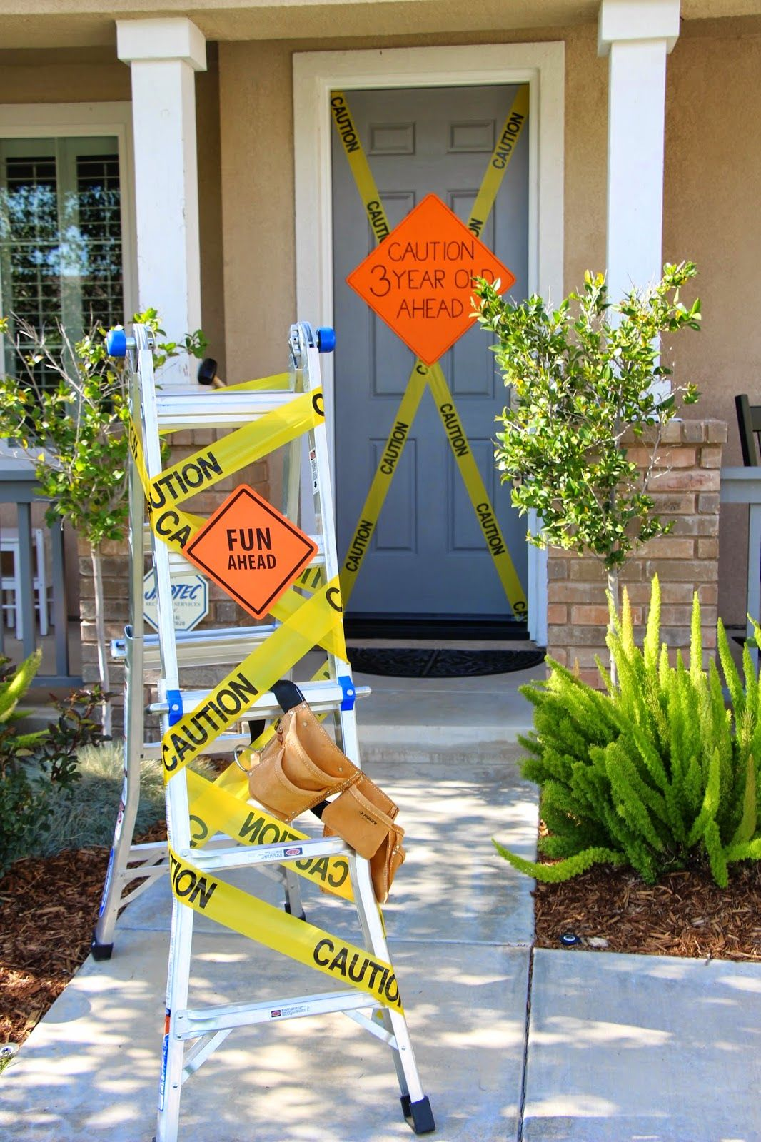 Construction Birthday Party Front Door And Yard Decorations Fun Ahead Caution 3 Year Old