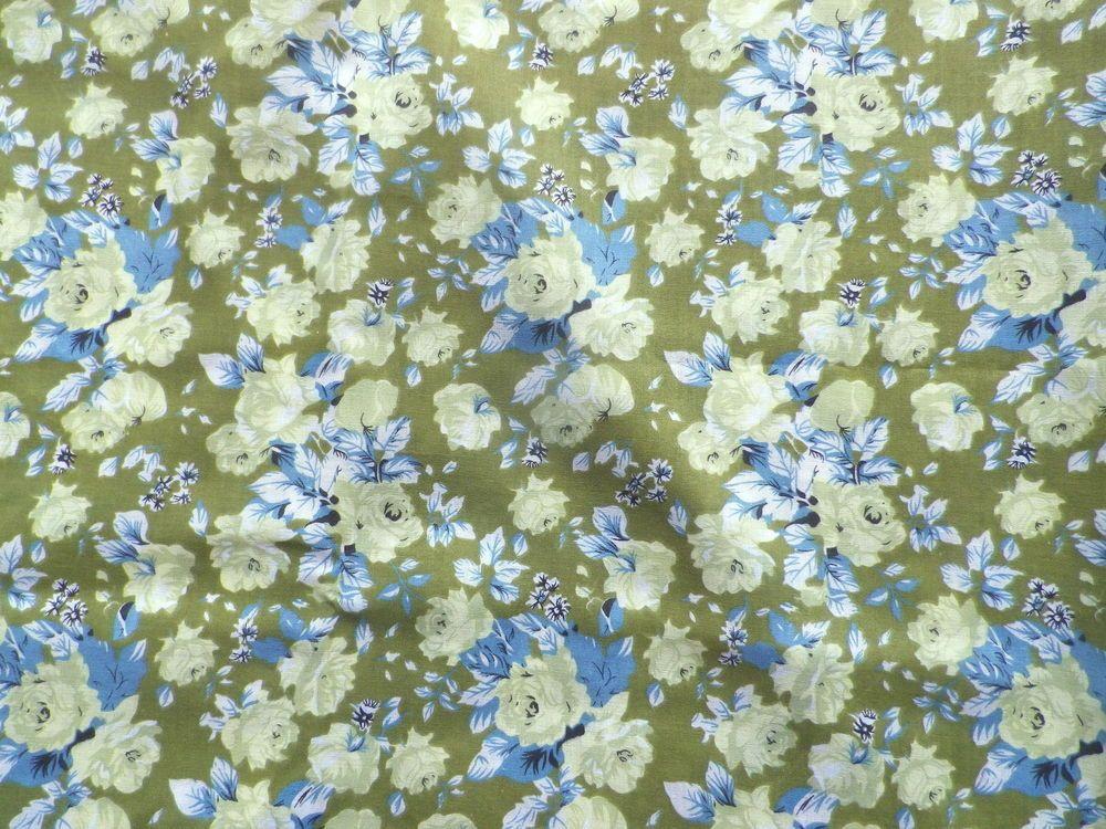 Vintage Horrockses Poly-Cotton Fabric Retro Blue Green Paisley Design