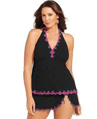 a743e73e854 Profile by Gottex Plus Size Swimsuit, Halter Ruffle-Trim Tankini Top &  Ruffle Skirted Swim Bottom - Plus Size Swimwear - Plus Sizes - Macy's