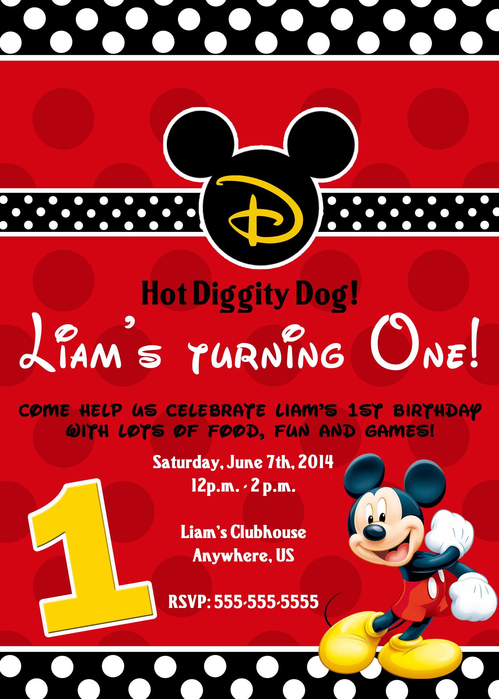 Pin On Disney Mickey Mouse Birthday Invitations