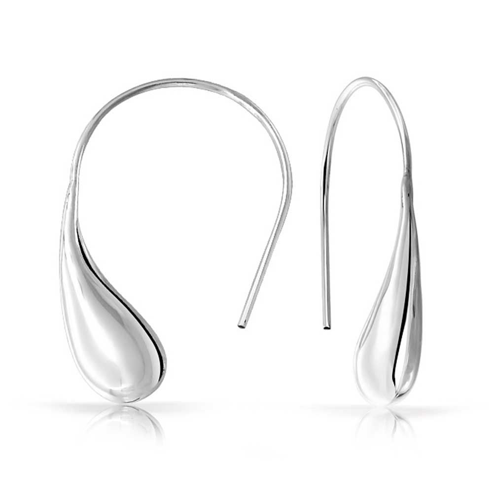 925 Sterling Silver Polished Bar Threader Earrings
