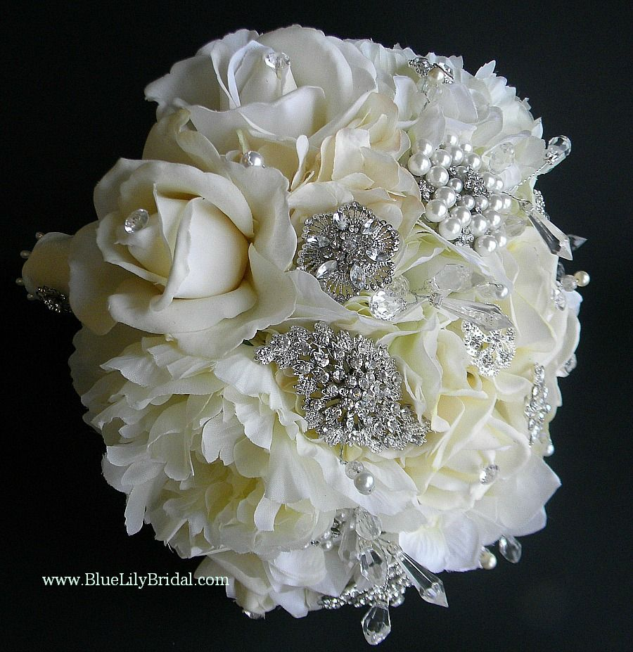 Brooch Bouquet For Real Weddings Silk Flower Bridal Bouquet