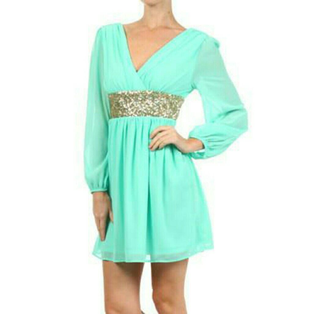 Green long sleeve cocktail dress  Roman Goddess Long Sleeve Sequin Dress Mint Gold  Products