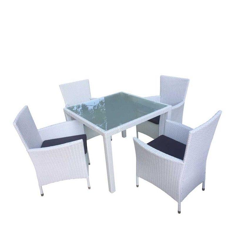 Polyrattan Tischgruppe In Weiss Dublin 5 Teilig Wohnen