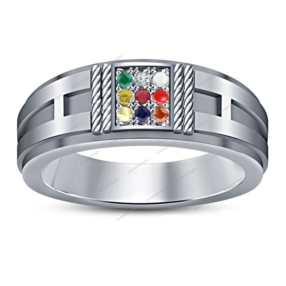 10k White Gold Finish 925 Silver Multi Color Navratna Men S Wedding Ring Square Gold Rings Fashion Mens Band Rings Mens Gold Rings