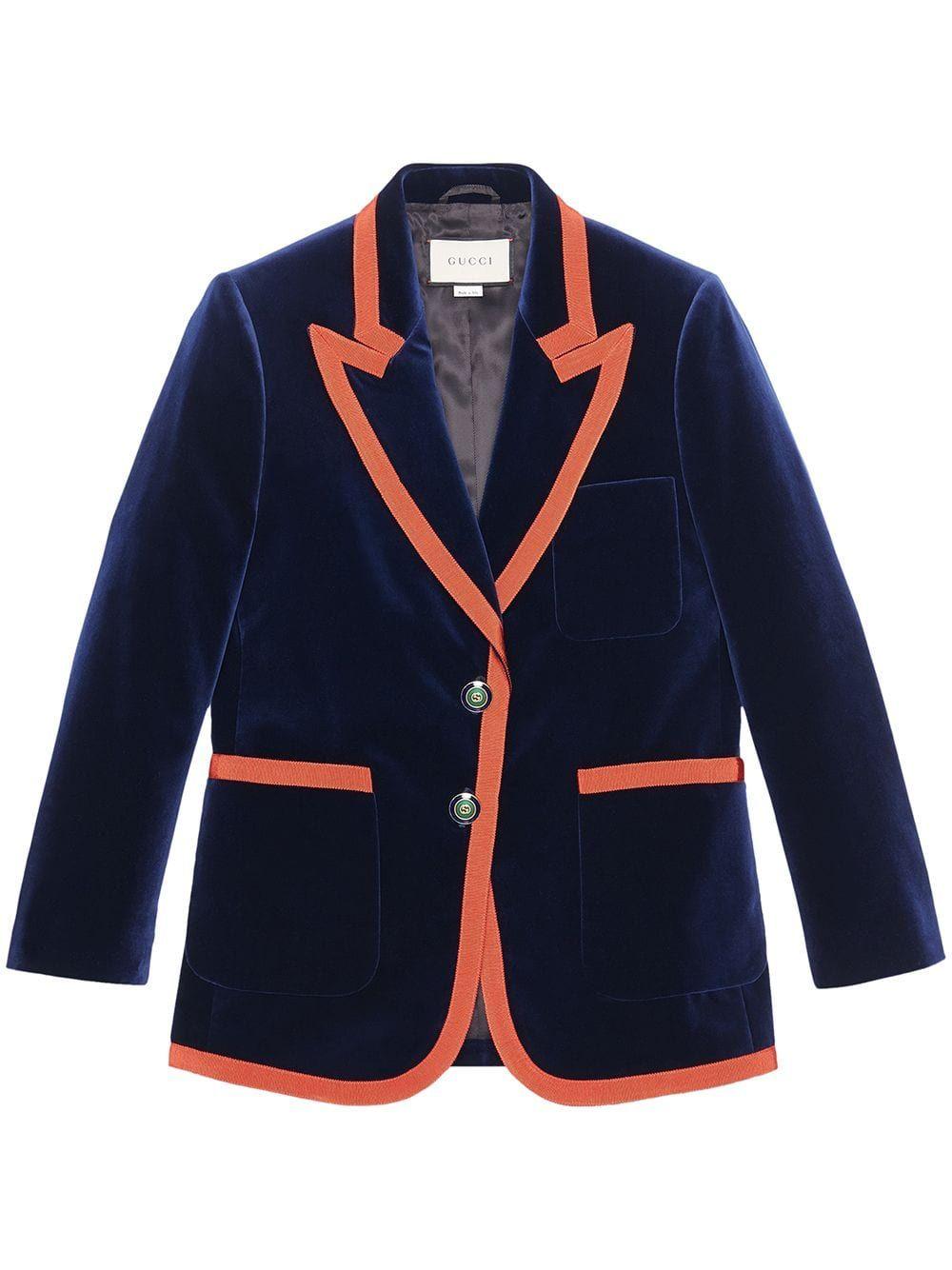 04ff5b31d Gucci Web trim blazer - Blue in 2019   Products   Velvet jacket ...