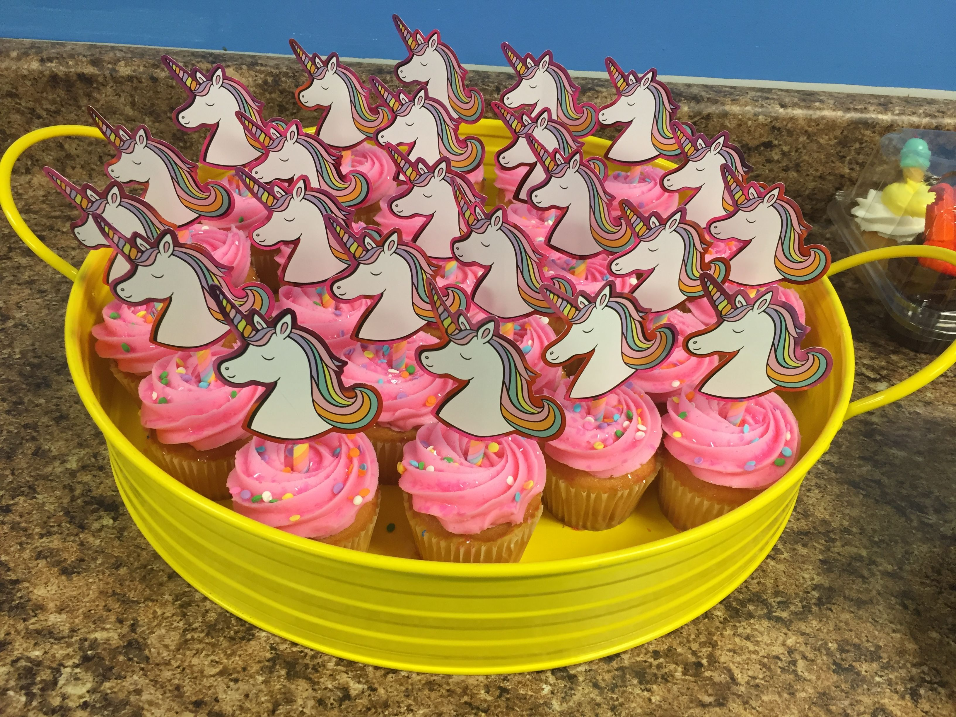 Unicorn Cupcakes From Target Trimmed The Cute Straws And Used Them As A Cupcake Topper