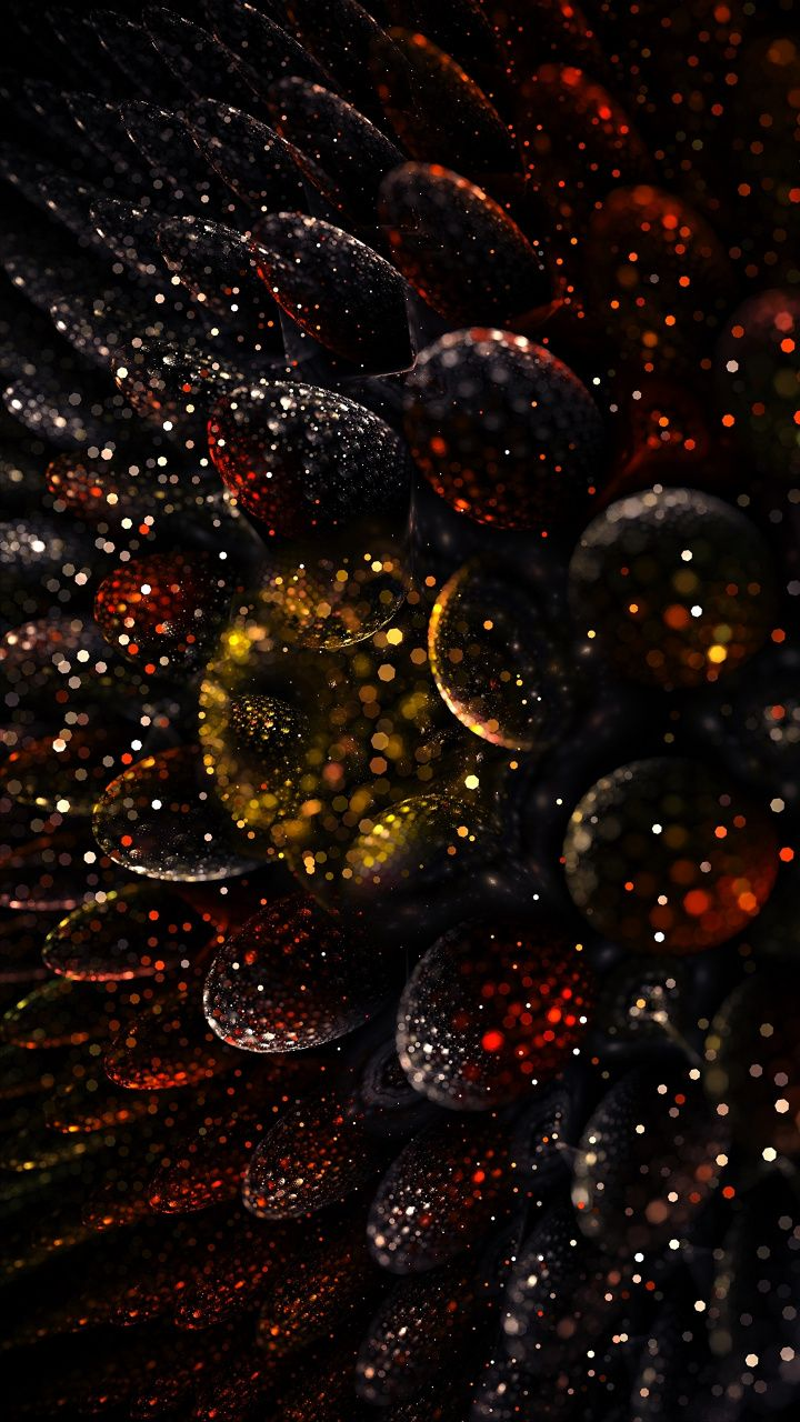 Dark, fractal, shape, glitter, ball, convex, 720x1280 wallpaper