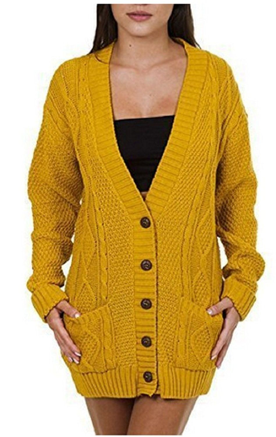 OgLuxe Women's Ladies Long Sleeve Pocket Cable Knit Chunky ...