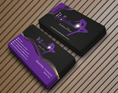 Check Out New Work On My Behance Portfolio Business Card Design For Reflections Academy Of Dance Http Be Business Card Design Business Cards Card Design