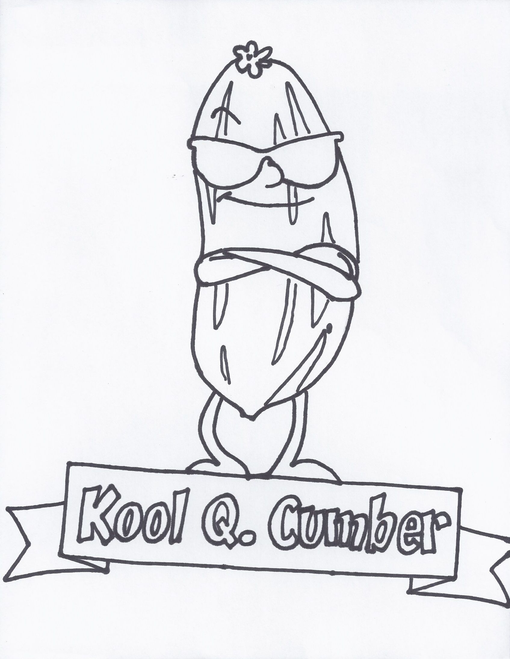 kool coloring pages Kool Q. Cumber: I help you stay calm (cool as a cucumber) when  kool coloring pages
