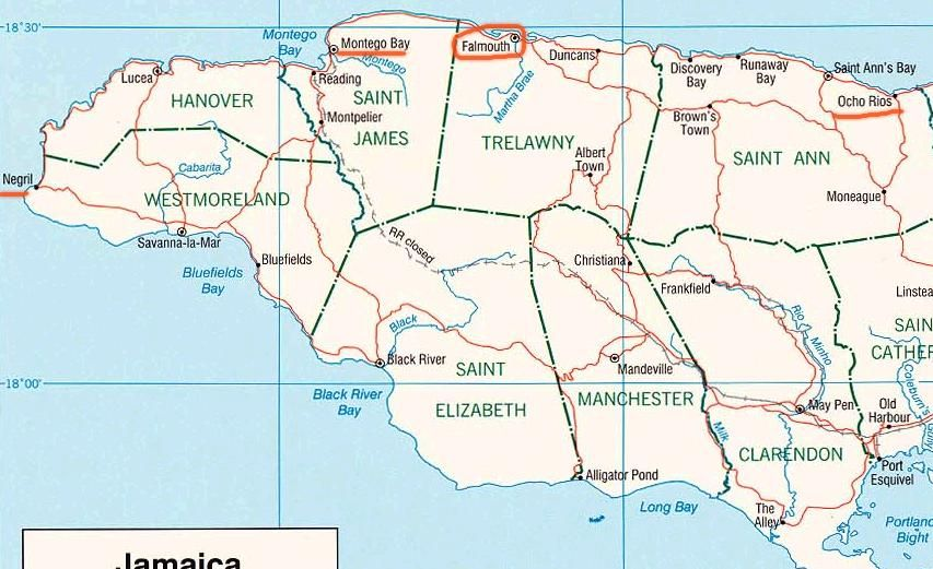 Map showing counties  Jamaica  Pinterest