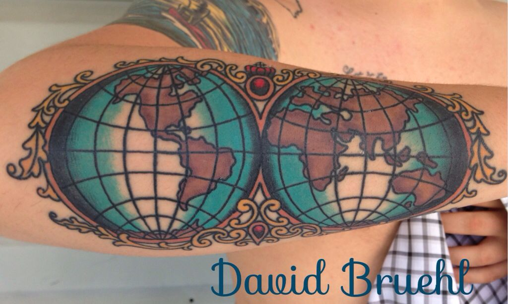 Traditional old world map tattoo with scroll flourishes on a lower traditional old world map tattoo with scroll flourishes on a lower arm by david bruehl at gumiabroncs Images