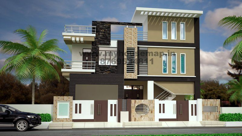 Modern elevation design of residential buildings house for Indian house front elevation photos for single house