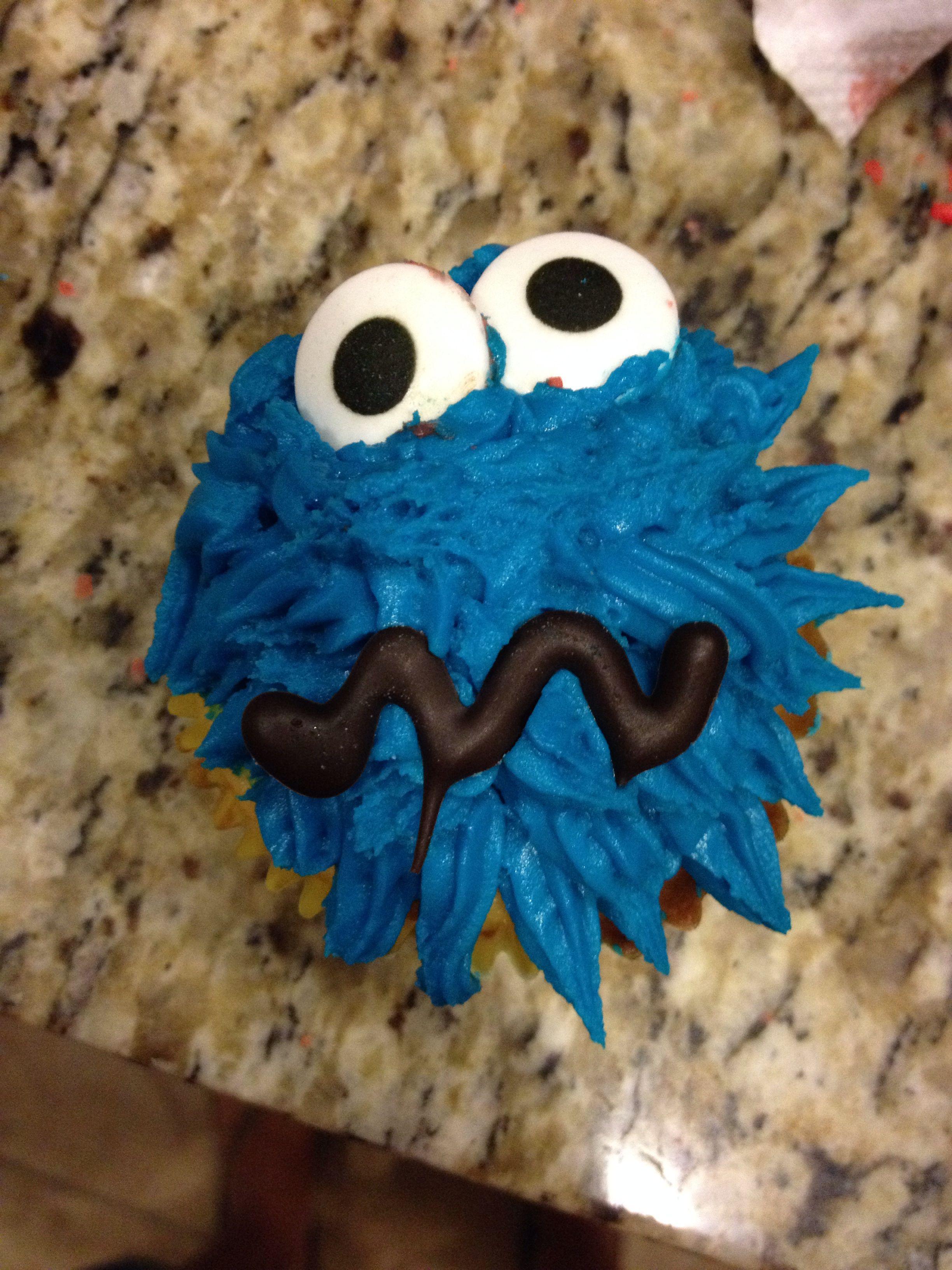 Cookie Monster cupcake. Wilton Royal Blue Food Coloring Gel ...
