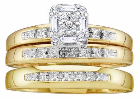 Mens Ladies 10K Yellow Gold 1CT Round Baguette Cut Diamond Wedding