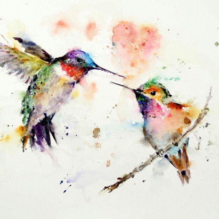 Splatter art, two little hummingbirds, one sittin' on a branch, hummingbird tattoo